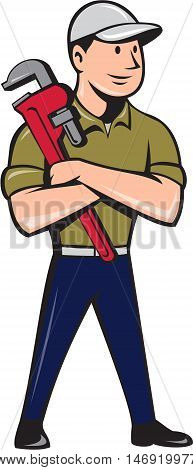 Illustration of a plumber wearing hat looking to the side arms crossed standing holding monkey wrench viewed from front set inside circle on isolated background done in cartoon style.