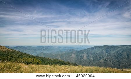 A view on the French Cevennes, a mountain range in the south of France