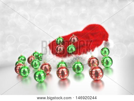 Christmas santa claus hat with baubles - 3D rendering