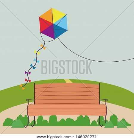 Kite chair and landscape icon. Good day in the park theme. Colorful design. Vector illustration