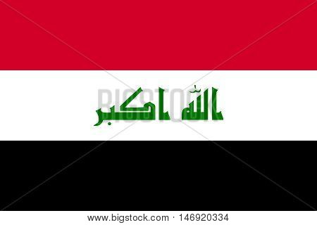 Flag of Iraq in correct size proportions and colors. Accurate official standard dimensions. Iraqi national flag. Irak patriotic symbol element background. Iraki banner. Vector illustration