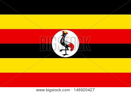 Flag of Uganda in correct size proportions and colors. Accurate official standard dimensions. Ugandan national flag. African patriotic symbol banner element background. Vector illustration