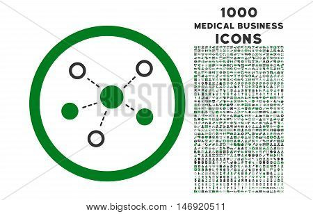 Virtual Links rounded vector bicolor icon with 1000 medical business icons. Set style is flat pictograms, green and gray colors, white background.