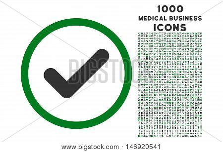 Yes rounded vector bicolor icon with 1000 medical business icons. Set style is flat pictograms, green and gray colors, white background.