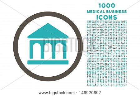 Bank Building rounded vector bicolor icon with 1000 medical business icons. Set style is flat pictograms, grey and cyan colors, white background.