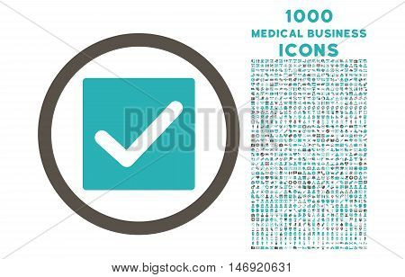 Check rounded vector bicolor icon with 1000 medical business icons. Set style is flat pictograms, grey and cyan colors, white background.