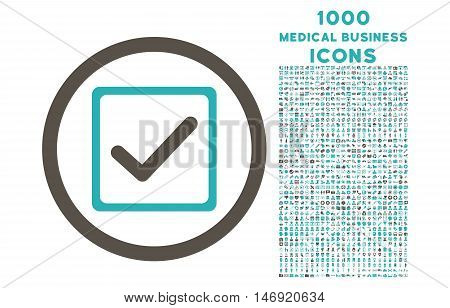 Checkbox rounded vector bicolor icon with 1000 medical business icons. Set style is flat pictograms, grey and cyan colors, white background.