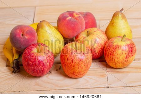 fruits on wooden table, studio picture