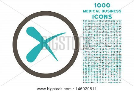 Erase rounded vector bicolor icon with 1000 medical business icons. Set style is flat pictograms, grey and cyan colors, white background.