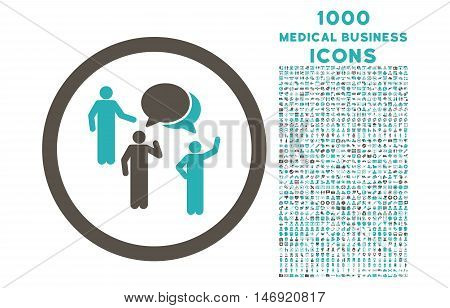 Forum Persons rounded vector bicolor icon with 1000 medical business icons. Set style is flat pictograms, grey and cyan colors, white background.