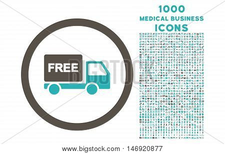 Free Delivery rounded vector bicolor icon with 1000 medical business icons. Set style is flat pictograms, grey and cyan colors, white background.