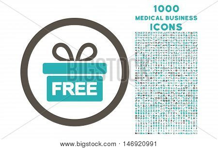 Gift rounded vector bicolor icon with 1000 medical business icons. Set style is flat pictograms, grey and cyan colors, white background.