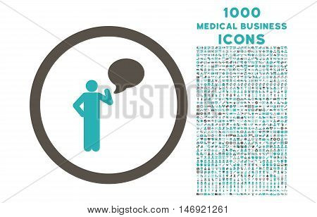 Person Idea rounded vector bicolor icon with 1000 medical business icons. Set style is flat pictograms, grey and cyan colors, white background.