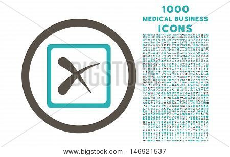 Reject rounded vector bicolor icon with 1000 medical business icons. Set style is flat pictograms, grey and cyan colors, white background.