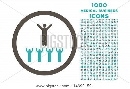 Religion Adepts rounded vector bicolor icon with 1000 medical business icons. Set style is flat pictograms, grey and cyan colors, white background.