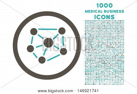 Social Graph rounded vector bicolor icon with 1000 medical business icons. Set style is flat pictograms, grey and cyan colors, white background.
