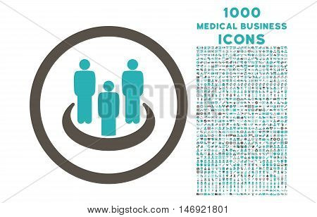 Social Group rounded vector bicolor icon with 1000 medical business icons. Set style is flat pictograms, grey and cyan colors, white background.
