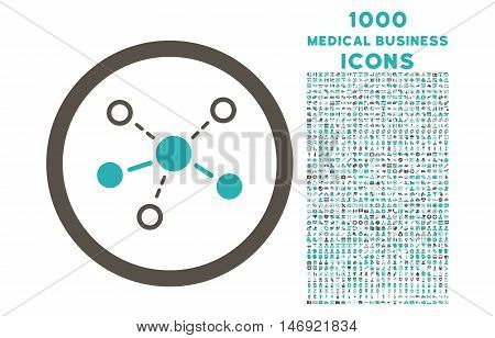 Structure rounded vector bicolor icon with 1000 medical business icons. Set style is flat pictograms, grey and cyan colors, white background.