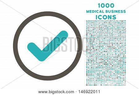 Yes rounded vector bicolor icon with 1000 medical business icons. Set style is flat pictograms, grey and cyan colors, white background.