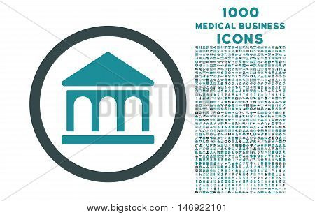 Bank Building rounded vector bicolor icon with 1000 medical business icons. Set style is flat pictograms, soft blue colors, white background.