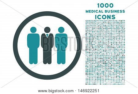Clerk Staff rounded vector bicolor icon with 1000 medical business icons. Set style is flat pictograms, soft blue colors, white background.