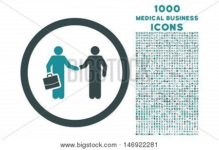 Contract Meeting rounded vector bicolor icon with 1000 medical business icons. Set style is flat pictograms, soft blue colors, white background.
