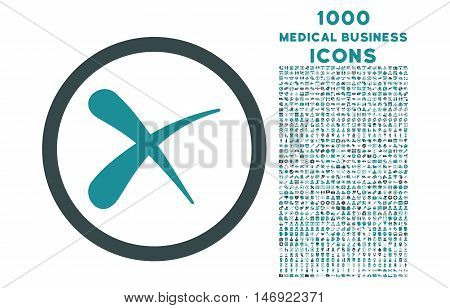 Erase rounded vector bicolor icon with 1000 medical business icons. Set style is flat pictograms, soft blue colors, white background.