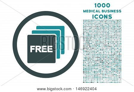 Free rounded vector bicolor icon with 1000 medical business icons. Set style is flat pictograms, soft blue colors, white background.