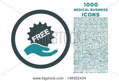 Free Offer rounded vector bicolor icon with 1000 medical business icons. Set style is flat pictograms, soft blue colors, white background.