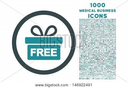 Gift rounded vector bicolor icon with 1000 medical business icons. Set style is flat pictograms, soft blue colors, white background.
