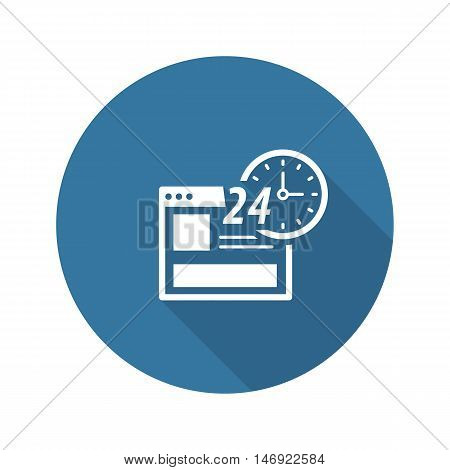 Online Shopping Icon. Flat Design Isolated Illustration. App Symbol or UI element. Web Page with 24 hours Clock Sign.