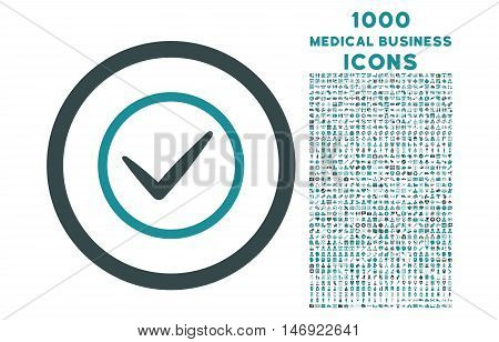 Ok rounded vector bicolor icon with 1000 medical business icons. Set style is flat pictograms, soft blue colors, white background.