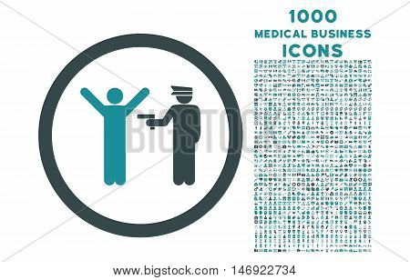Police Arrest rounded vector bicolor icon with 1000 medical business icons. Set style is flat pictograms, soft blue colors, white background.