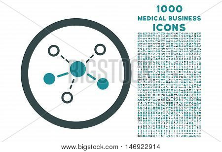 Structure rounded vector bicolor icon with 1000 medical business icons. Set style is flat pictograms, soft blue colors, white background.