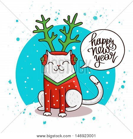 Cute and funny cat. Quote Happy New Year. The trend calligraphy. Vector illustration on white background. Great holiday gift card.