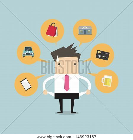 Businessman with no money for spending, vector illustration.