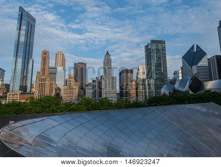 May 27 2016: Chicago Skyline from the BP Bridge in Millenium Park
