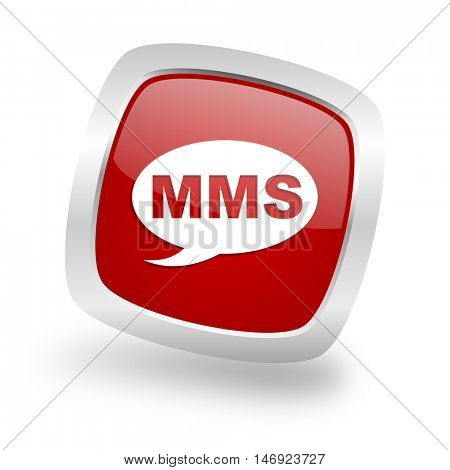 mms square glossy red chrome silver metallic web icon