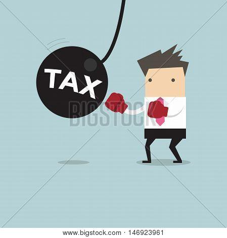 Businessman punching the big pendulum tax. vector