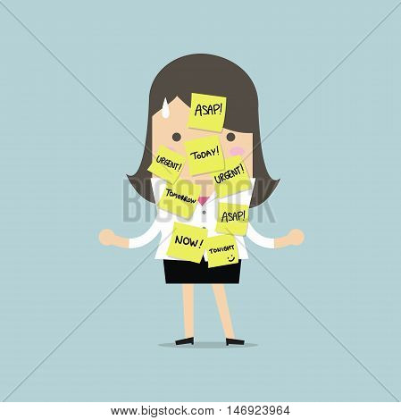 Businesswoman with a lot of short note for urgent work