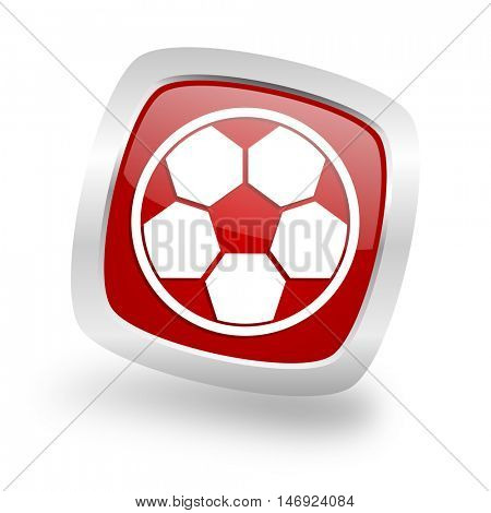 soccer square glossy red chrome silver metallic web icon