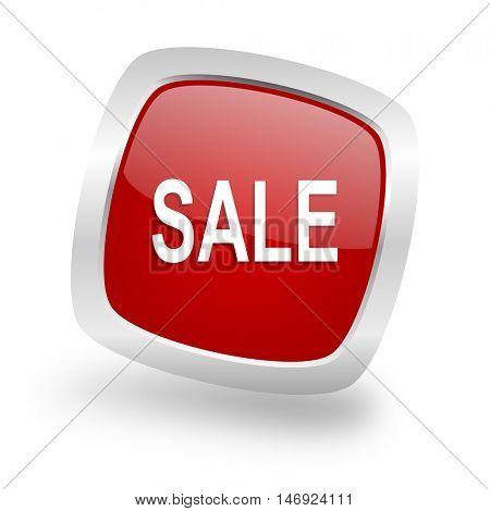 sale square glossy red chrome silver metallic web icon