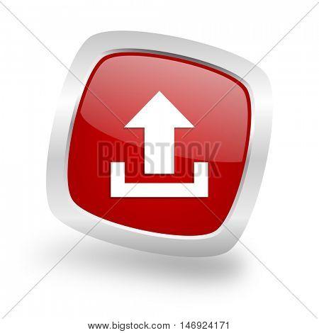 upload square glossy red chrome silver metallic web icon