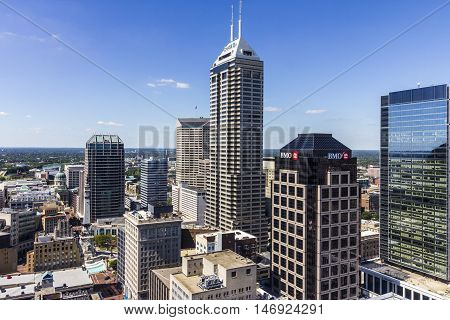 Indianapolis - Circa September 2016: Indianapolis Downtown Skyline on a Sunny Day II