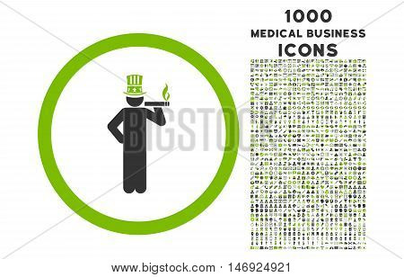 American Capitalist rounded glyph bicolor icon with 1000 medical business icons. Set style is flat pictograms, eco green and gray colors, white background.