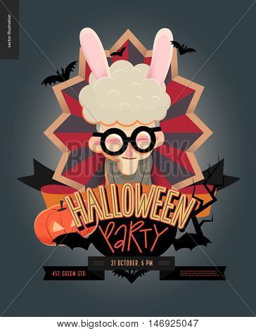 Halloween Party composed sign emblem invitation. Flat vector cartoon illustrated design of an old lady wearing bunny ears