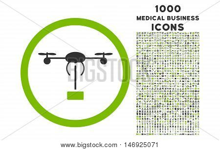 Copter Shipment rounded glyph bicolor icon with 1000 medical business icons. Set style is flat pictograms, eco green and gray colors, white background.