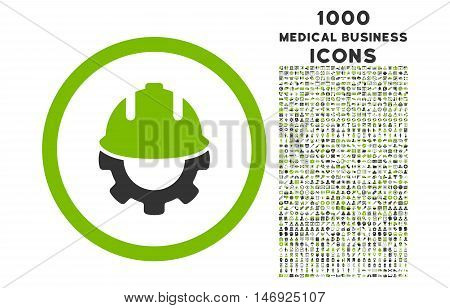 Development rounded glyph bicolor icon with 1000 medical business icons. Set style is flat pictograms, eco green and gray colors, white background.