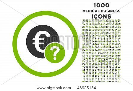 Euro Status rounded glyph bicolor icon with 1000 medical business icons. Set style is flat pictograms, eco green and gray colors, white background.