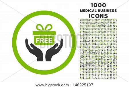 Give Present rounded glyph bicolor icon with 1000 medical business icons. Set style is flat pictograms, eco green and gray colors, white background.